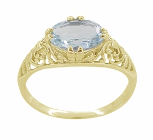 Edwardian Oval Aquamarine Filigree Ring in 14 Karat Yellow Gold - Item R799YA - Image 3