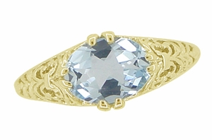 Edwardian Oval Aquamarine Filigree Ring in 14 Karat Yellow Gold - Click to enlarge
