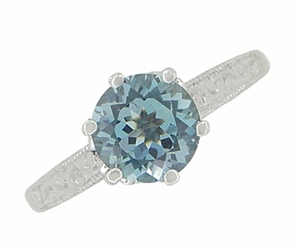 Art Deco 1 Carat Crown Aquamarine Engagement Ring in Platinum - Click to enlarge