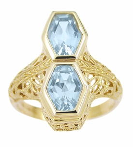 Art Deco Love Duet Blue Topaz Filigree Ring in 14 Karat Yellow Gold - Click to enlarge