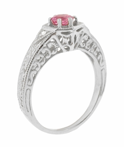 Art Deco Pink Sapphire and Diamond Filigree Engraved Engagement Ring in 14 Karat White Gold - Click to enlarge