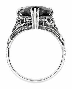 Art Deco Filigree Engraved Black Onyx Ring in Sterling Silver  - Item R302 - Image 1
