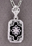 Small Art Deco Filigree Onyx and Diamond Pendant Necklace in Sterling Silver