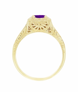 Art Deco Amethyst Filigree Scrolls Engraved Engagement Ring in 14 Karat Yellow Gold - Click to enlarge