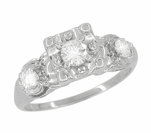 Retro Moderne Antique Diamond Engagement Ring in 14 Karat White Gold - Item R603 - Image 1
