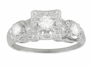 Retro Moderne Antique Diamond Engagement Ring in 14 Karat White Gold - Item R603 - Image 2