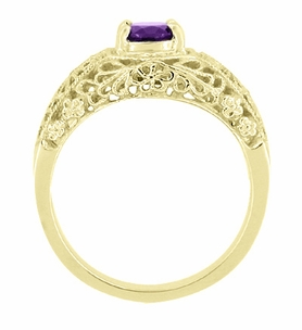 Edwardian Filigree Flowers Amethyst Dome Ring in 14 Karat Yellow Gold - Click to enlarge