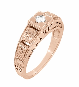 Art Deco Filigree Engraved Diamond Engagement Ring in 14 Karat Rose Gold - Item R160R - Image 1