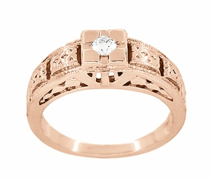 Art Deco Filigree Engraved Diamond Engagement Ring in 14 Karat Rose Gold - Item R160R - Image 2