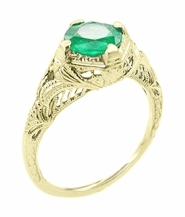 Art Deco Emerald Engraved Filigree Engagement  Ring in 14 Karat Yellow Gold - Click to enlarge