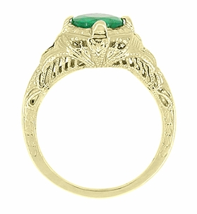 Art Deco Emerald Engraved Filigree Engagement  Ring in 14 Karat Yellow Gold - Item R410Y - Image 2