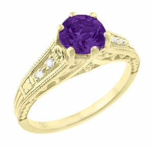Amethyst and Diamond Filigree Engagement Ring in 14 Karat Yellow Gold - Item R158YAM - Image 1