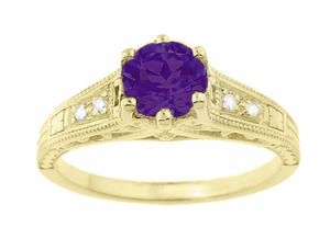 Amethyst and Diamond Filigree Engagement Ring in 14 Karat Yellow Gold - Click to enlarge