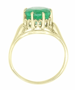 Regal Emerald Crown Engagement Ring in 14 Karat Yellow Gold - Click to enlarge