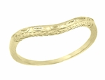 Art Deco Olive Leaves and Engraved Wheat Curved Wedding Band in 14 Karat Yellow Gold