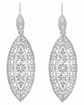 Art Deco Dangling Leaf Sterling Silver Filigree Diamond Earrings