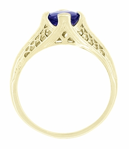 Art Deco Filigree Blue Sapphire Engagement Ring in 14 Karat Yellow Gold, Unique Heirloom Artisan Sapphire Engagement Band  - Click to enlarge