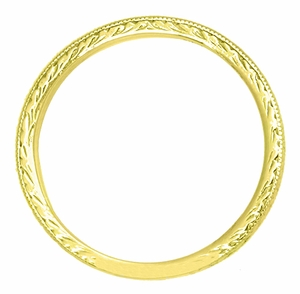 Art Deco Engraved Wheat Wedding Band in 18 Karat Yellow Gold - Click to enlarge