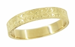 Mens Art Deco Engraved Antique Wheat Wedding Ring in 14 Karat Yellow Gold