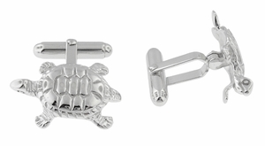 Tortoise Cufflinks in Sterling Silver - Item SCL105 - Image 1