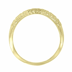 Art Deco Olive Leaves and Engraved Wheat Curved Wedding Band in 14 Karat Yellow Gold - Click to enlarge