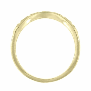 Art Deco Olive Leaves and Engraved Wheat Curved Wedding Band in 14 Karat Yellow Gold - Item WR419Y2 - Image 2