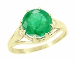Regal Emerald Crown Engagement Ring in 14 Karat Yellow Gold