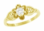 Vintage Engraved Flowers and Leaves 1/4 Carat Diamond Engagement Ring in 14 Karat Yellow Gold