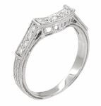Art Deco Platinum and Diamond Engraved Filigree Wedding Ring
