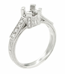 Art Deco Engraved Filigree Castle 1 Carat Diamond Engagement Ring Mounting in Platinum