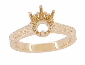 Art Deco 1.50 - 1.75 Carat Crown Filigree Scrolls Engagement Ring Setting in 14K Rose Gold | Pink Gold Vintage Solitaire Crown Ring - Item R199R150 - Image 3