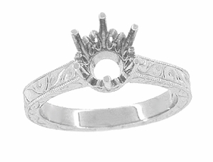 Art Deco Platinum 1.50 - 2.00 Carat Crown Engagement Ring Setting with Scroll Engraving for a Round Stone 7mm - 8mm - Item R199P150 - Image 2