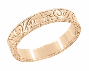Men's Art Deco Scrolls Engraved Wedding Band in 14 Karat Rose Gold - Item WR199MR - Image 1