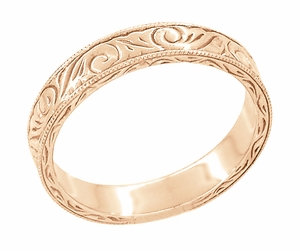 Men's Art Deco Scrolls Engraved Wedding Band in 14 Karat Rose Gold - Click to enlarge