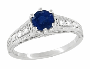 Sapphire and Diamond Filigree Art Deco Engagement Ring in Platinum - Click to enlarge