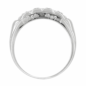 Scalloped Diamond Antique Wedding Band in 14 Karat White Gold - Click to enlarge