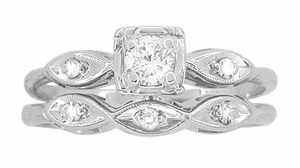 Vintage Retro Moderne Diamond Engagement Ring and Wedding Ring Set in 14 Karat White Gold - Click to enlarge