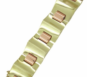 Retro Moderne Estate Bracelet in 14 Karat Rose and Yellow Gold