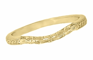 Art Deco Flowers and Wheat Engraved Filigree Wedding Band in 18 Karat Yellow Gold - Item WR356Y - Image 1
