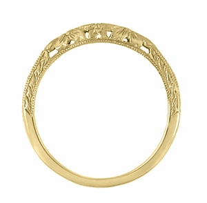 Art Deco Flowers and Wheat Engraved Filigree Wedding Band in 18 Karat Yellow Gold - Item WR356Y - Image 3