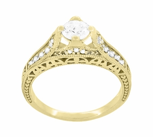 Art Deco Filigree Diamond Wheat Engraved Engagement Ring in 18 Karat Yellow Gold - Click to enlarge