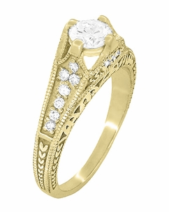 Art Deco Filigree Diamond Wheat Engraved Engagement Ring in 18 Karat Yellow Gold - Item R296Y50D - Image 2