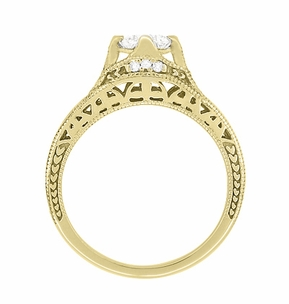 Art Deco Filigree Diamond Wheat Engraved Engagement Ring in 18 Karat Yellow Gold - Item R296Y50D - Image 3