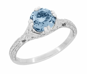 Art Deco Filigree Flowers and Wheat Engraved Aquamarine Engagement Ring in Platinum - Click to enlarge