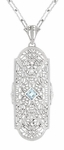 Art Deco Floral Filigree Aquamarine Pendant Necklace in Sterling Silver