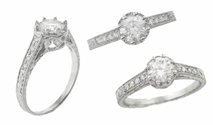 Royal Crown 1/2 Carat Antique Style Engraved Platinum Engagement Ring Setting - Item R460P50 - Image 2