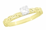 Art Deco Scrolls White Sapphire Engagement Ring in 14 Karat Yellow Gold