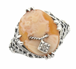 Art Deco Filigree Carnelian Shell Cameo Ring with Diamond  in Sterling Silver - Item SSR15 - Image 1