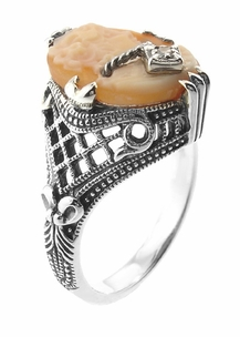 Art Deco Filigree Carnelian Shell Cameo Ring with Diamond  in Sterling Silver - Item SSR15 - Image 2