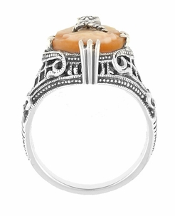 Art Deco Filigree Carnelian Shell Cameo Ring with Diamond  in Sterling Silver - Item SSR15 - Image 3